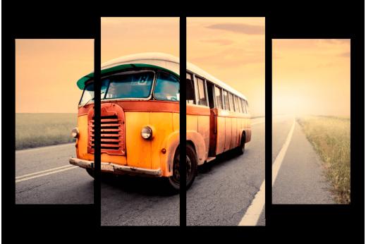 Модульная картина Ретро автобус